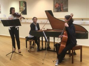 A trio of musicians playing string instruments and a piano