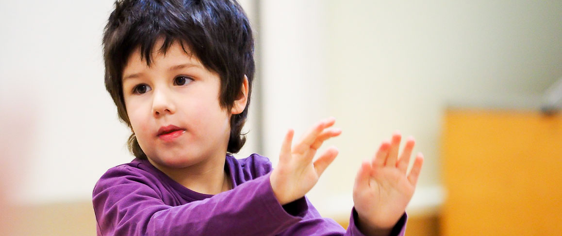 Boy learning percussion