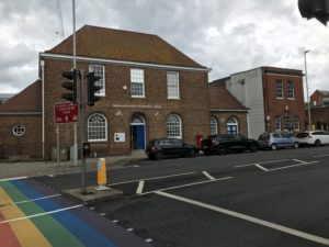 Rainbow crossing outside Barbican House
