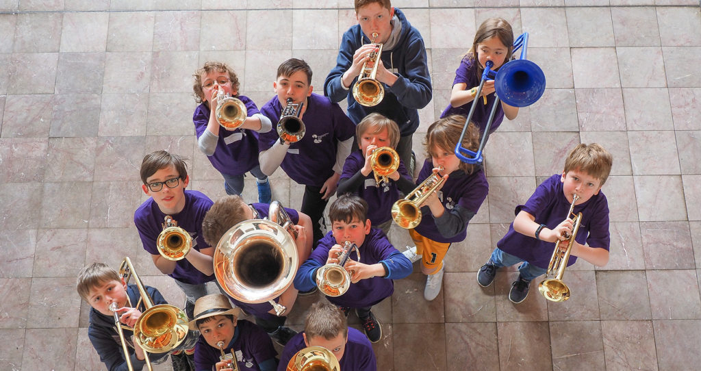 Aerial shot of brass players